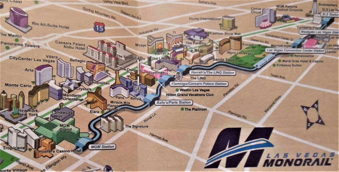 A map of the Las Vegas Monorail Route