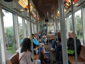 The tram between the Mirage and Treasure Island