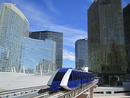 This tram goes from the Bellagio to the Aria, then to the Park MGM