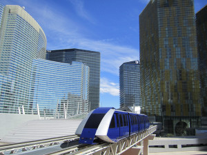 This tram goes from the Monte Carlo to the Aria then to the Bellagio