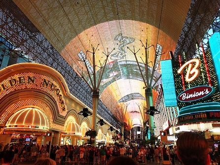 The Fremont Street Light Show starts on the hour