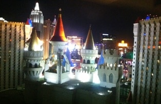 A view from our room at the Excalibur Hotel and Casino.