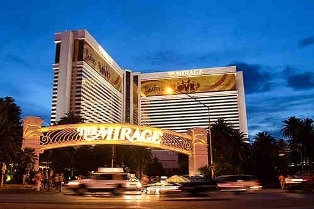 The Mirage Hotel and Casino is about 6/10th of a mile from the Bellagio