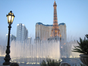The Bellagio Fountains as seen from the resort
