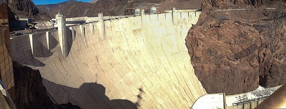 The Hoover Dam is not far from Las Vegas
