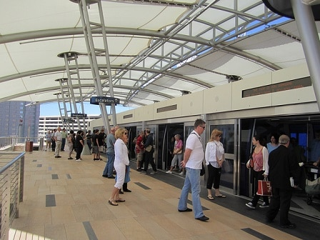 Aria Tram Stops are all either indoor or covered
