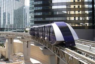Aria Express is the free tram to the Monte Carlo & Bellagio