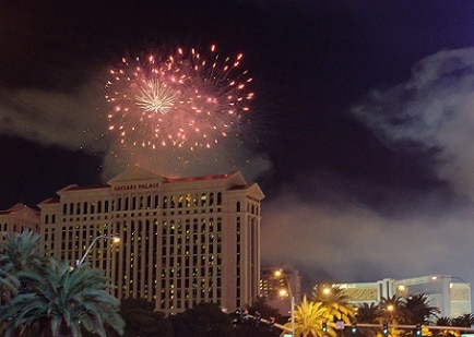 Fireworks over Caesars Palace in Las Vegas