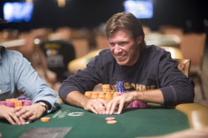 Layne Flack Happy at a 2013 World Series of Poker Final Table