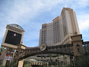 The Strip entrance to the Palazzo Parking Garage