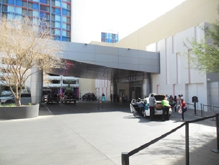 The valet parking area in front of the Linq Hotel and Casino