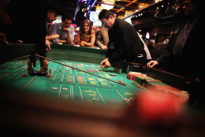 A craps game at Casino Royale - the best place to place craps in Las Vegas