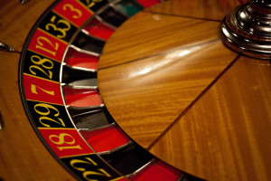 A typical casino roulette wheel