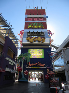 The Slotzilla Zipline Platform on Fremont Street in Las Vegas
