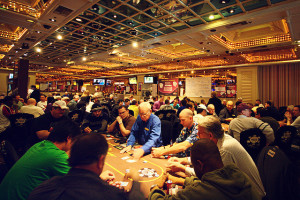 You can win money playing Texas Hold'em here, at the Flamingo's Poker Room