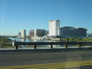 A view of the casinos in Laughlin, Nevada