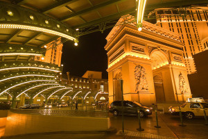 The pretty valet parking area at the Paris Las Vegas Hotel and Casino