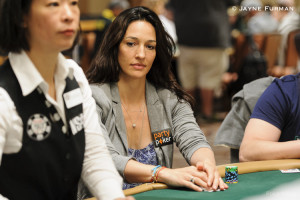 Kara Scott Playing Poker at the 2014 WSOP