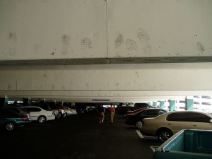 No, I don't know how the footprints got onto the Stratosphere Parking Garage