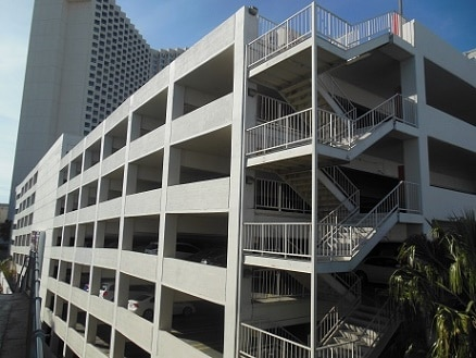 The back entrance to the parking garage off of Linq Lane