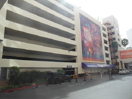 The parking garage behind Harrah's Las Vegas
