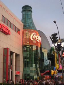 One of the Outback Steakhouses on the Las Vegas Strip is just to the left of the giant Coke Bottle