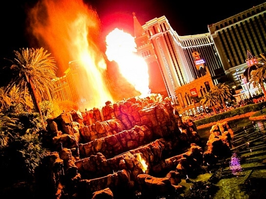The volcano at the Mirage is the original Strips-side attaction