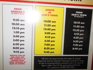 The Sam's Town Shuttle Schedule to the Strip