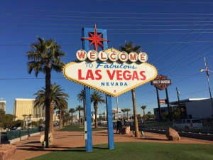 There are 33 parking spaces at the Welcome to Las Vegas Sign