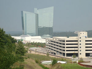 One of the four parking garages at the Mohegan Sun