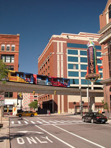 The Detroit People Mover Passes by the Greektown Casino