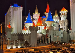 There are lots of parking spaces at the Excalibur Hotel & Casino
