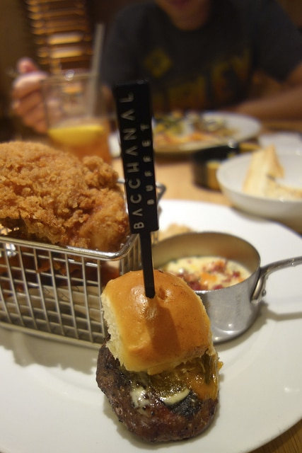 Examples of the small plate portions served at the Bacchanal Buffet