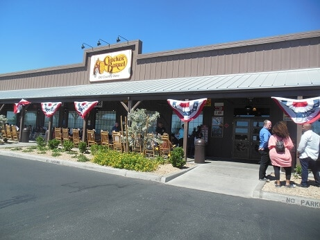 The outside of the Cracker Barrel on Dean Martin Drive
