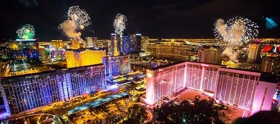 New Years Eve fireworks in Las Vegas as seen from the High Roller Observation Wheel