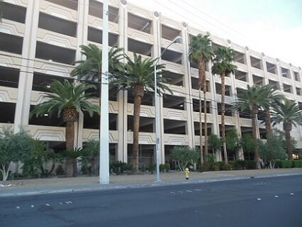 The back of the MGM Grand Las Vegas Parking Garage