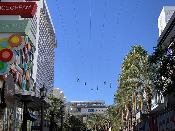 The Fly Linq Zip Line as seen from the Linq Promenade below