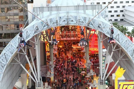 The Slotzilla flying over Fremont Street in downtown Las Vegas
