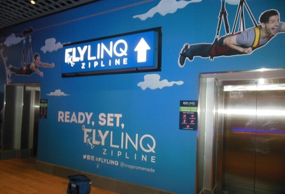 These are the first set of elevators inside the Linq Hotel & Casino that take you up to the launching area