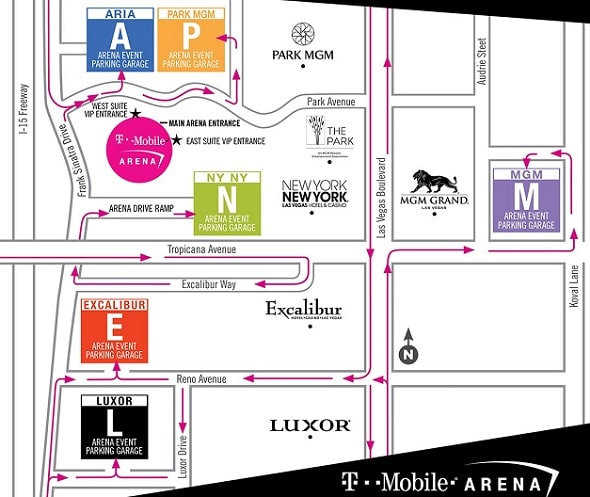 T Mobile Arena Parking Fee Map 2019