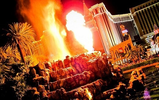 The exploding volcano at the Mirage Hotel & Casino on the Las Vegas Strip