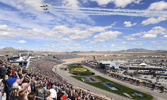 Las Vegas Motor Speedway is 17 miles from the center of the Las Vegas Strip