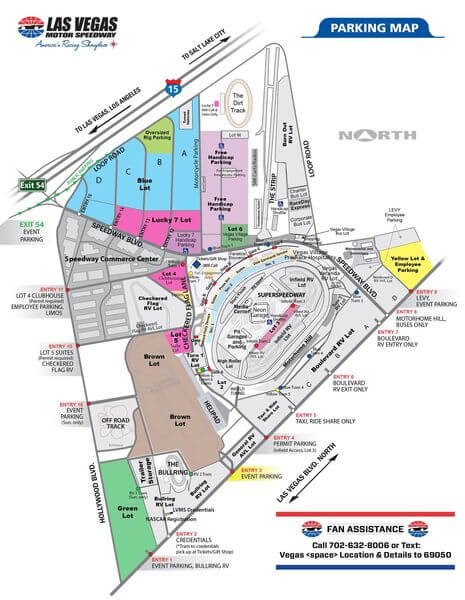 Most of the free general parking will be found in the Blue Lot (off of I-15), and the Brown Lot (off of Las Vegas Blvd.)