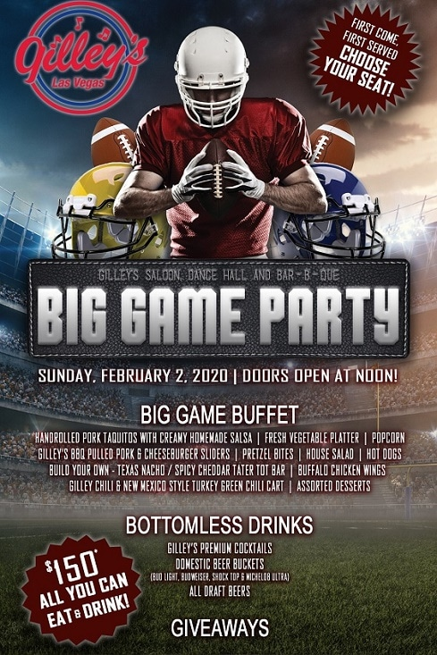Gilley's at T.I. has an affordable Big Game Party