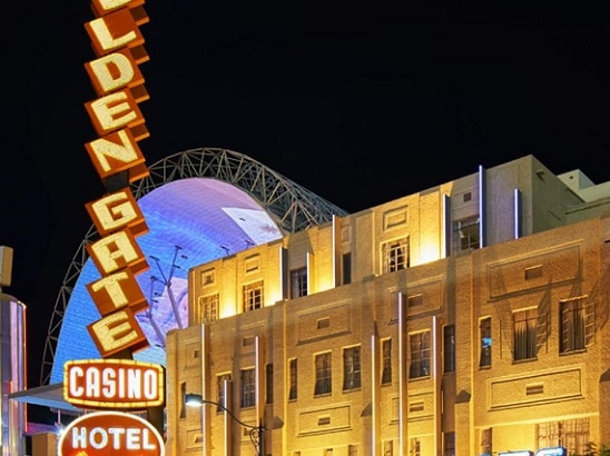 The old school Golden Gate Hotel is right on Fremont Street