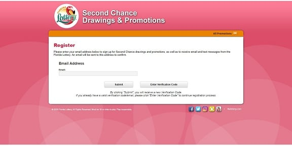 Florida Lottery's 2nd Chance Drawing Registration Page