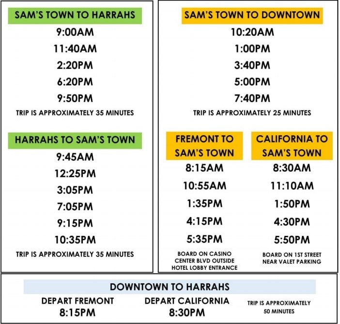 The schedule for the free Sam's Town Shuttle