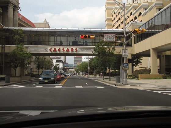 Skywalks on the 2nd level take you from the parking garages on the right, into Caesars AC