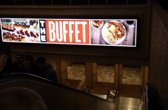 The Buffet at the Luxor is down the escalators from the main casino floor