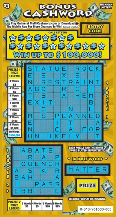 Bonus Cashword tickets have 2nd Chance Drawing Opportunities.